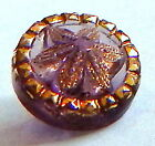 LOVELY ANTIQUE 1890'S TRANSPARENT AMETHYST LACY VICTORIAN GLASS BUTTON