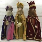 Vintage Nativity Three Wise Men Felt and Plastic Standing Dolls Figurines