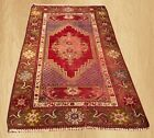 Distressed Hand Knotted Antique Turkish Wool Area Rug 5 x 3 FT (4297)