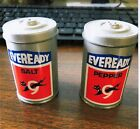 METAL EVEREADY Salt and Pepper Shakers MADE HONG CONG NEVER USED COLLECTION MINT
