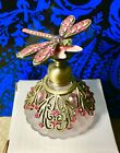 GLASS PEWTER ENAMEL CRYSTAL PERFUME BOTTLE FROSTED WITH DRAGONFLY