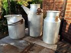 3 nice vintage aluminium churn pouring vessels ideal for painting. narrow boat
