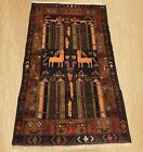 Authentic Hand Knotted Afghan Aksi Balouch pictorial Wool Area Rug 5 x 3 (5441)