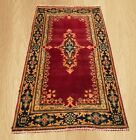 VGDY Authentic Vintage Hand Knotted Kirman Wool Area Rug 4 x 2 Ft (4346)