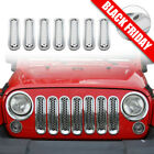 Chrome Clip in Front Grille Mesh Inserts For 07 15 Jeep Wrangler JK Unlimited
