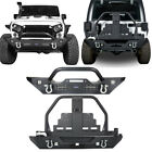 Front + Rear Bumper w Spare Tire Carrier  Floodlight for Jeep Wrangler 07 18 JK