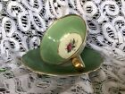 ARDALT Germany  tea cup and saucer chintz green gold rim footed Miniature