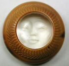 Lg Sz Vegetable Ivory Button w/ Carved Moon Face Under Dome Surface - 1
