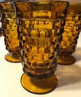 Vintage Indiana Glass Whitehall Cubist Amber Footed Drinking Glasses  6