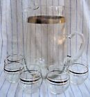 Vintage Set,Silver Band Glass Pitcher .75 gal w/ 5 Silver Rings Bar Glasses,5 oz