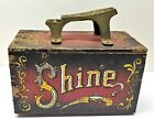 💕 Vintage Wooden Shoe Shine 5 Cents Display Box  💕