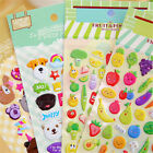 2sheets 3D Puffy Bubble Sticker Toys Children Car Animal Fruit Letter Stickers 7