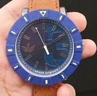 New Old Stock ADIDAS ADH3000 Blue Face Leather Strap Quartz Men Watch