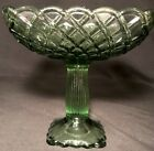 L.E. Smith Square Pedestal Compote Candy Dish Green Glass Trellis 6-1/2