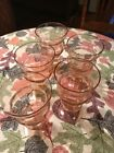 pink depression soda glass set of 5 one with a chip