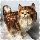 Vintage 12 X 8 Persian Cat Large Ceramic Brown Green Eye Figurine Marked E3430