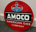 American Gas company Standard Amoco Oil gasoline sign ..FREE ship on 10 signs