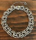 Vintage Elco Thick Double Link Sterling Silver Charm Bracelet