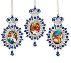 Nativity of Christ Scene Russian Icon Pendants Christmas Ornament Gift Set of 3