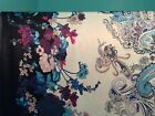 Paisley flower double border print satin fabric on white 60 wide sold BTY