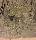 ANCHOR HOCKING PUNCH BOWL SET COMPLETE WITH PEDESTAL 12 CUPS, 12 HANGERS