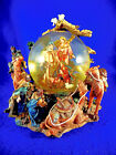 HIGHLY ELABORATE LARGE GLITTER GLOBE NATIVITY PLAYS SILENT NIGHT 8 1 2BY7 1 2