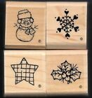 SNOWMAN SNOWFLAKE snow STAR HOLLY JRL Design CTMH wood lot CRAFT Rubber Stamp