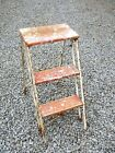 Mid Century Industrial Rustic Wood Primitive Farmhouse Folding Red Step Ladder
