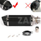Universal Dual Outlet Scooter Exhaust Muffler Pipe Black Carbon Look 370mm 144