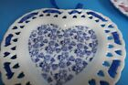 VINTAGE FRENCH MILK GLASS HEART SHAPED DISH WALL/VANITY WITH BLUE ROSES