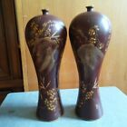 China antique painting gold flowers and poetry on wood + lacquer plum vase pair