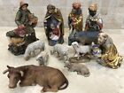 Wood Carved Nativity LARGE Set 8 Italy Hand Painted Anri style 13 Piece