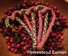 HOMESPUN Rag Candy Cane Christmas Ornaments ~ Rustic Country Farmhouse