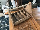 Vintage Primitive Wooden Tool Tray Box Tote Carrier Chest Caddy Carpenter Rustic
