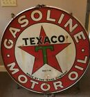 VINTAGE TEXACO DOUBLE SIDED SIGN WITH HANGER RIM 42""