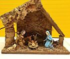 🌲Vintage Antique Small Wooden Lighted Manger Made in Italy Nativity Set 🌲