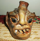Southern Pottery Face Jug  -  signed - Decorative Folk Art - Unique Space Filler
