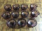Lot (11) Indiana KING'S CROWN Thumbprint Purple Amethyst Sherbet Glasses 6 ounce