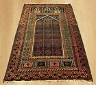 Antique Hand Knotted Afghan Maldar Balouch Wool Area Rug 5 x 3 FT (4448)