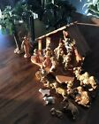 VINTAGE FONTANINI NATIVITY DEPOSE ITALY 20 PIECE SET WITH STABLE 21 Signed