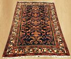 Distressed Antique Hand Knotted Persian Hamadan Pictorial Wool Area Rug 5 x 3