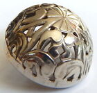 CHASED SILVER LACY DOME BUTTON ~ 7/8