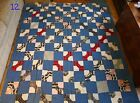GREAT PRIMITIVE ANTIQUE/VINTAGE CUTTER QUILT! BOW TIE! BLUE RED BLACK!