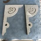 Pair of Antique Victorian Gingerbread Corbels,Chippy Paint,Gothic Fretwork,1871