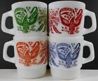 4 VINTAGE FIRE-KING COFFEE MUGS AMERICANA EAGLE E PLURIBUS UNUM STACKING