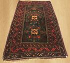 Authentic Hand Knotted Vintage Afghan Adras Khan Balouch Wool Area Rug 5 x 3 FT
