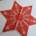 Vintage Swedish Christmas star-shaped tablemat , hand embroidered in white silk