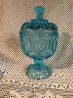 Vintage LE Smith Blue Glass Compote Candy Dish with Lid Moon and Stars