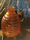 RETRO AMBER GLASS WASP CATCHER VICTORIAN DESIGN ABOUT 8'' TALL AND 5 1/2'' WIDE