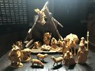 19 Piece Wood Carved Nativity Set w Stable Italy Oberammergau Anri style